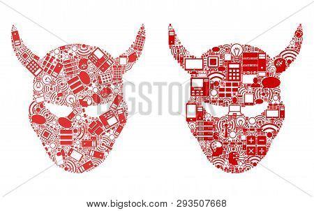 Daemon Head Composition Icons Organized For Bigdata Purposes. Vector Daemon Head Mosaics Are Organiz