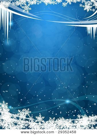 beautiful winter frosty background in vector