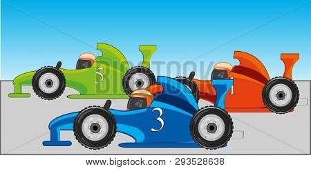 Atheletic Racing On Fireball On Route.vector Illustration