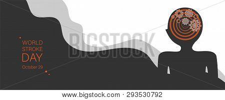 World Stroke Day Vector Banner Template. Human Brain Apoplexy Abstract Illustration. Cogwheels Mecha