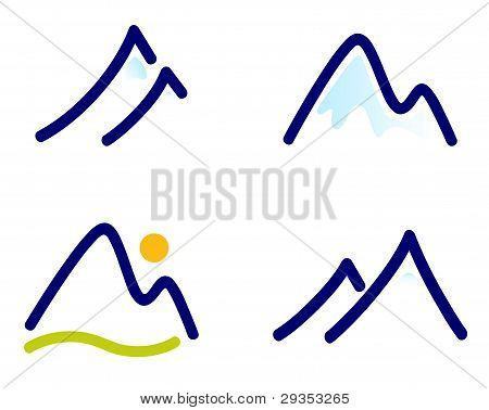 Snowy Mountains Or Hills Icons Set Isolated On White