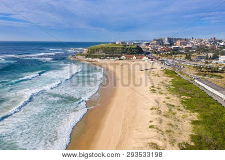 Aerial View Of Nobbys Beach - Newcastle Australia. Nobbys Beach Located A Few Minutes From The Cbd I
