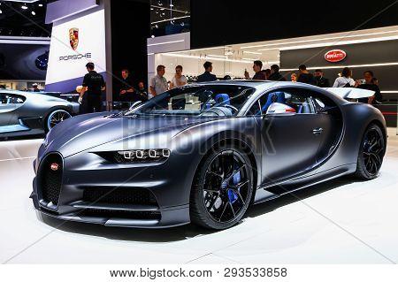 Geneva, Switzerland - March 10, 2019: Luxury Hypercar 110 Ans Bugatti Presented At The Annual Geneva