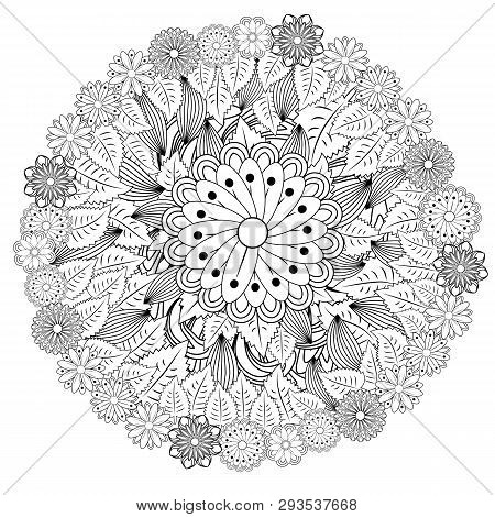 Outline Vector Drawing Of Flowers For Adult Coloring Books. Page Of Floral Pattern In Black And Whit