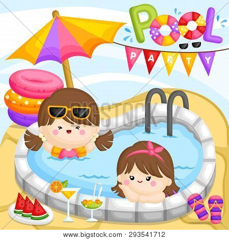 A Vector Of Cute Little Girls Having A Fun Party At The Pool