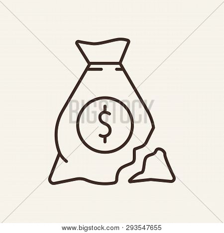 Torn Money Bag Line Icon. Saving, Breach, Hole, Sack, Dollar Symbol. Finance Concept. Vector Illustr