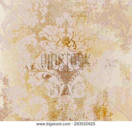 Vector Rococo Pattern Texture. Damask Ornament Grunge Background. Vintage Royal Fabric Rust Effect.