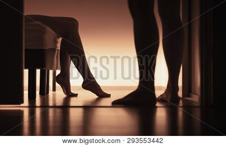 Couple About To Have Sex. Sexual Erotic Woman And Man In Home Bedroom. Naked Married Or Dating Peopl