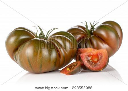 Group Of Two Whole Three Slices Of Meaty Fresh Tomato Primora Isolated On White Background