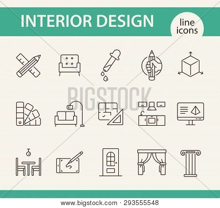 Interior Design Line Icon Set. Pencil, Ruler, Furniture, Room. Home Concept. Can Be Used For Topics