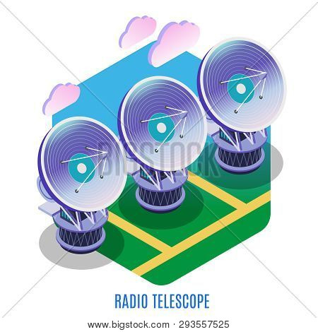 Astrophysics Isometric Background Composition With Astronomical Interferometer Array Of Separate Rad
