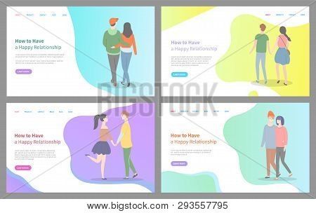 How To Build Happy Relationship Vector, Man And Woman Holding Hands Of Each Other, Relaxed People In