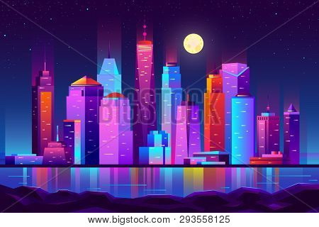 Modern New York City Cartoon Vector Night Landscape. Urban Cityscape Background With Skyscrapers Bui