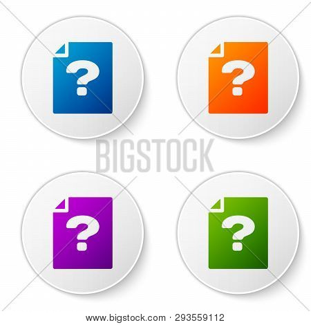 Color Unknown Document Icon Isolated On White Background. File With Question Mark. Hold Report, Serv