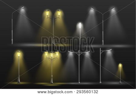 Various City Street Lights Glowing In Darkness Yellow Warm And Cold White Light 3d Realistic Vector