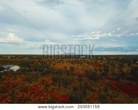 Yulara, Australia - Jun 11, 2018. Panoramic landscape of Kata Tjuta (Olgas) from Yulara in the Northern Territory state of Australia.