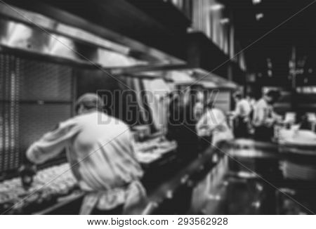 Motion Chefs Of A Restaurant Kitchen, Chef Motion Make Food Black And White