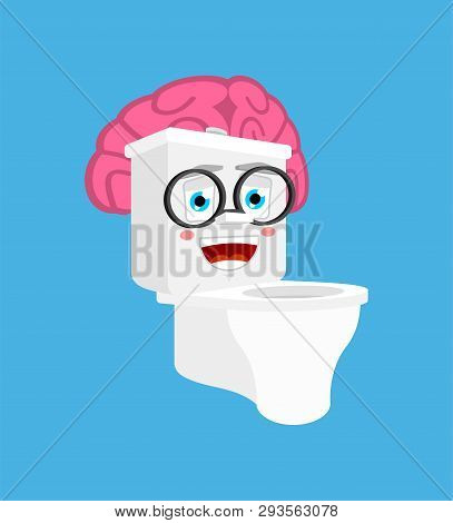 Smart Toilet Bowl With Brains Isolated. Lavatory Cartoon Style. Toilet Brainy Vector