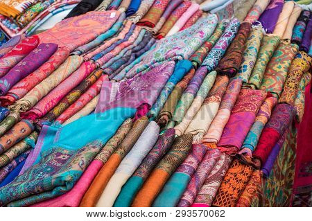 View Of Beautiful Indian Scarves, Stoles On The Counter Of The Store