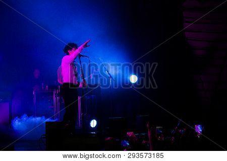 Rio De Janeiro, Brazil, April 04, 2019:  Matthew Healy From The 1975 Performs At Circo Voador Concer