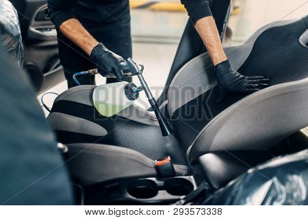 Professional dry cleaning of car interior