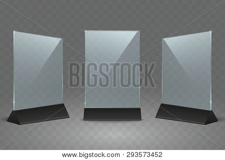 Acrylic Table Display Stand. Office Plastic Table Signs. Empty Transparent Glass Card Holder For Fly