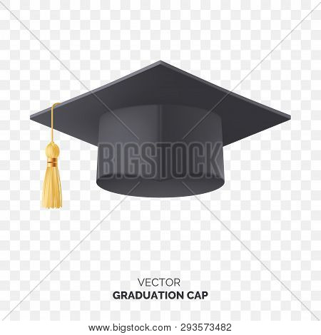 Vector Black Graduate Cap With Gold Tassel Isolated On Transparent Background. Square Academic Cap F