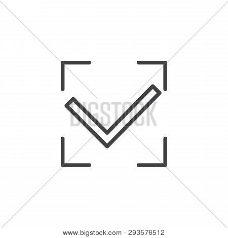 Authorization accepted line icon. Accept Valid linear style sign for mobile concept and web design. Check confirm outline vector icon. Security symbol, logo illustration. Pixel perfect vector graphics poster