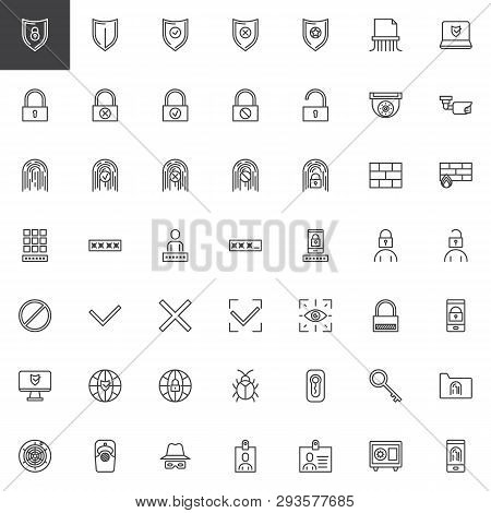 Cyber Security Line Icons Set. Linear Style Symbols Collection, Outline Signs Pack. Vector Graphics.