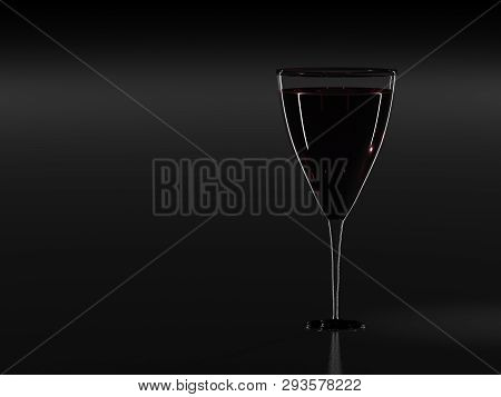 Glass Of Wine. 3d Rendering. Copyspace. A Glass Of Wine. Red Wine. Wine Glass On A Black Background.