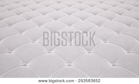 Quilted Fabric Surface. White Velvet And White Leather. Option 1
