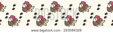 Cute Hedgehog And Pawprint Cartoon Seamless Vector Border. Hand Drawn Forest Footprint Tile.