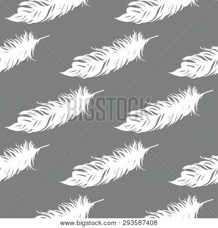 Feather Seamless Pattern. Vintage Card For Fabric Design.peacock Feather Seamless Pattern.