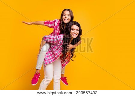 Portrait Of Charming Careless Mature Little Ladies Stylish Hairstyle Satisfied Have Free Time Walk F
