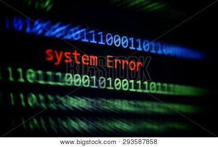 Technology Binary Code Number Data Alert System Error Message On Display Screen / Computer Network P