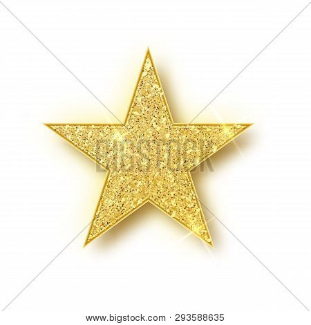 Gold Glitter Star Vector Isolated. Golden Sparkle Luxury Design Element Isolated. Icon Of Star Isola