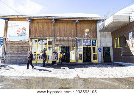 Grindelwald Berne, Switzerland- April 24: Gondola Lift Station And Restaurant At First Peak Jungfau,