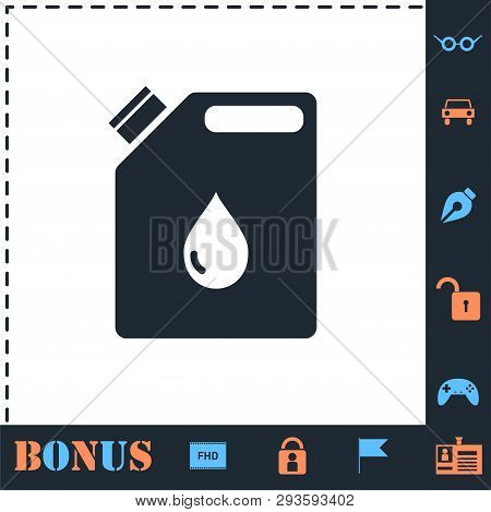 Jerrycan Oil. Perfect Icon With Bonus Simple Icons