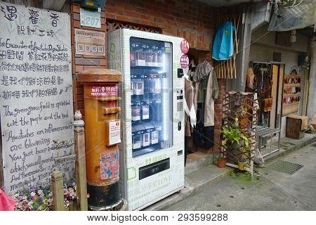 Jiufen Taiwan March, 31 2019 : Post Box And Postcard Shop On Walkway At Jiufen Market