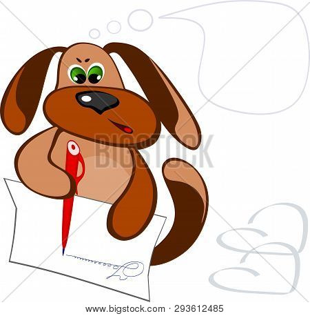 The Dog Writes A Letter With A Red Pen