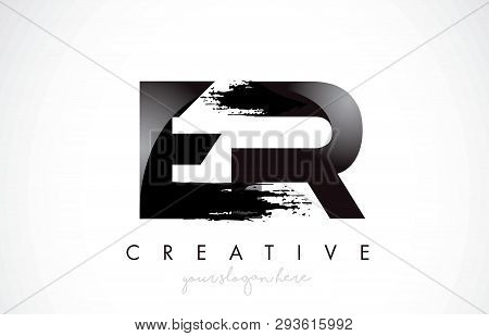 Er Letter Design With Brush Stroke And Modern 3d Look Vector Illustration.