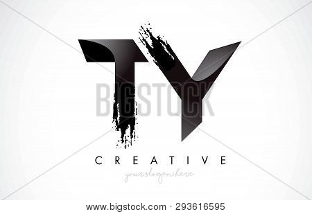 Ty Letter Design With Brush Stroke And Modern 3d Look Vector Illustration.