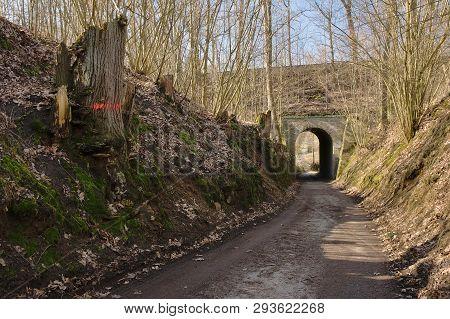 Path With Viaduct Leading To Karba Village In Czech Turist Region Machuv Kraj