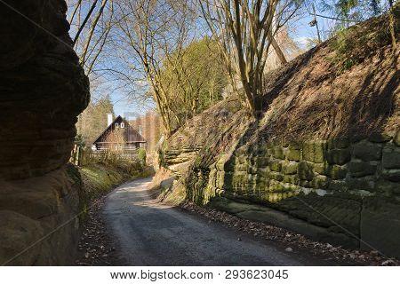 Path Between Rocks Leading To Karba Village In Czech Turist Region Machuv Kraj