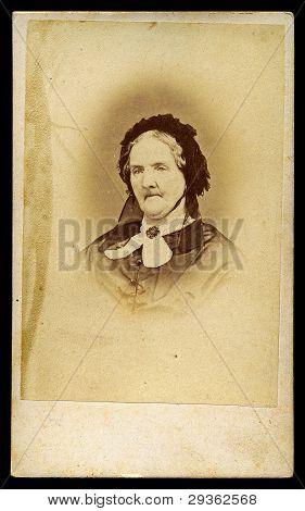 Portrait Of Victorian Old Lady Antique Photo