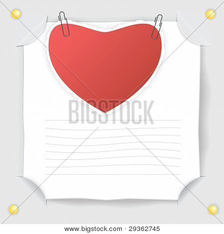 Red Heart  Paper And  White Sheet Of Paper