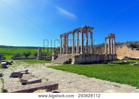 View Of The Temple Of Juno In Dougga, Tunisia