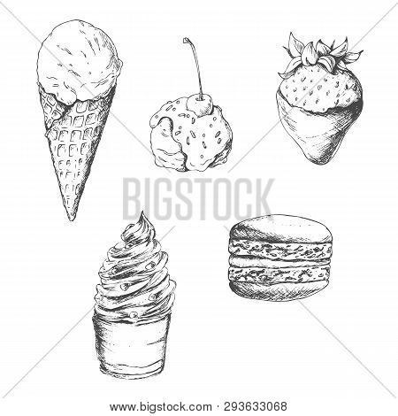 A Set Of Different Sweets: Ice Cream, Dessert, Strawberries In Chocolate And Macaroon. In Doodle Sty