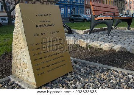 Chomutov, Czech Republic - March 27, 2019: Karel Kultvars Memory Place In Centre Of City