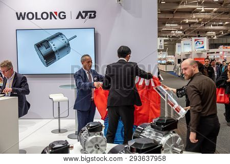 Hannover , Germany - April 02 2019 : Wolong Is Presenting The Newest Innovations At The Hannover Fai